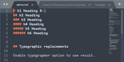 Sublime Text - マークダウンファイルを開いたときの様子