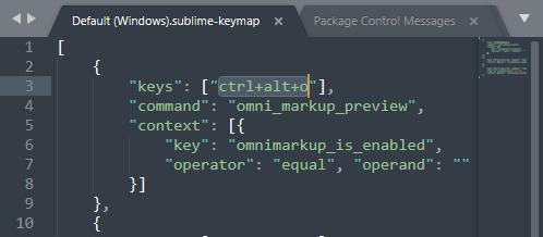 OmniMarkupPreview - デフォルトのショートカットキーはctrl+alt+o になっている
