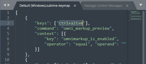 OmniMarkupPreview - マークダウンプレビューのショートカットキーを ctrl+alt+m に変更したときの様子