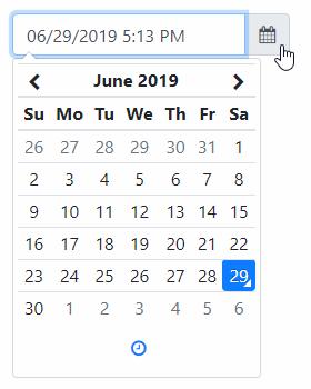 Bootstrapで表示したデートピッカーの例。直感的に日付選択ができて便利
