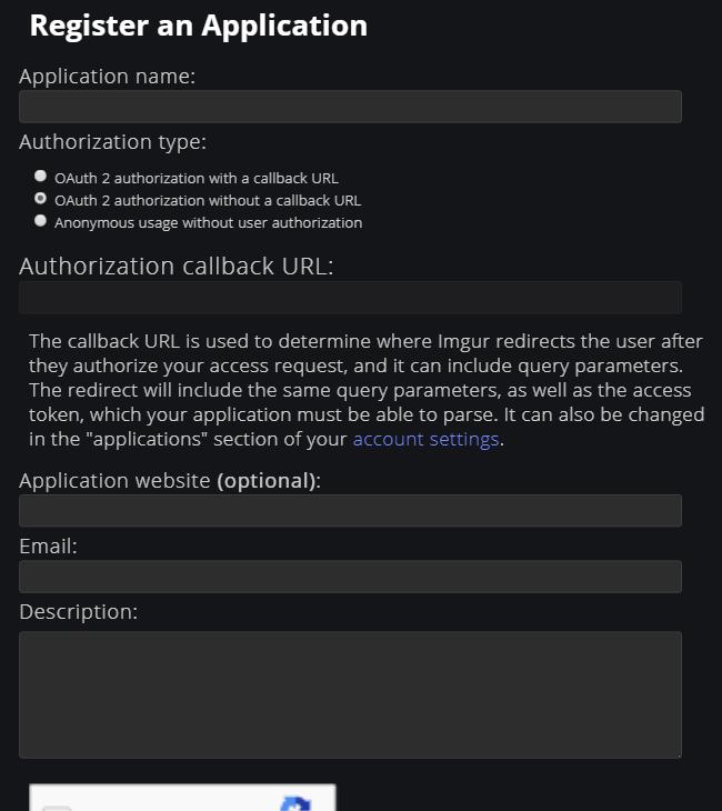 Imgur API から使うアプリの作成画面