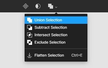 Figmaで図形を全選択したら、上メニューから「Union Selection」をクリック