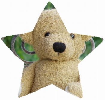 mask-imageプロパティで星形に切り抜いたクマのぬいぐるみの画像
