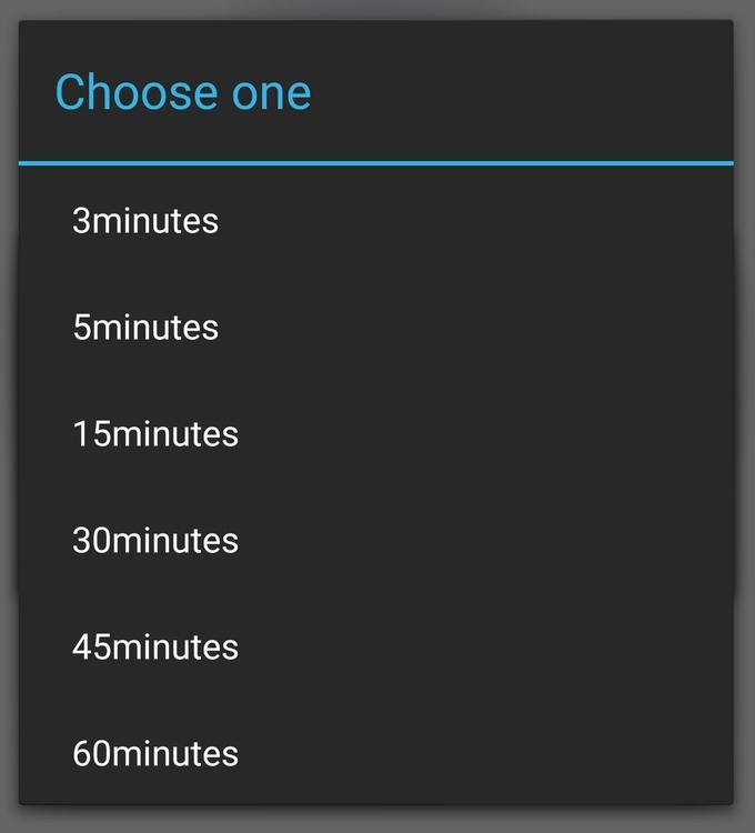 SimpleAlertDialogで表示したリストダイアログの例。こういうがListViewとかArrayAdapterとか一切なしで作れる