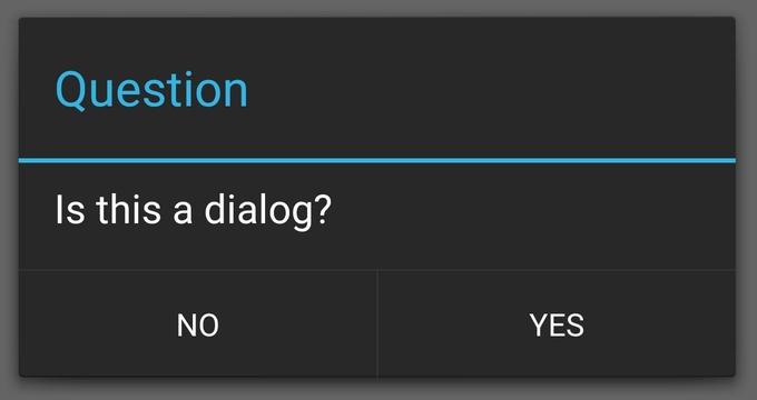SimpleAlertDialogで表示したメッセージダイアログの例。こういうのが DialogFragment 継承なしで作れて便利