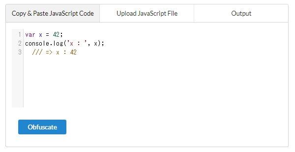 Obfuscatorのコード難読化画面。完全にオンラインでJavaScriptコード難読化ができる