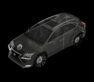 とある自動車3Dモデルにレントゲン透視効果を付けた様子